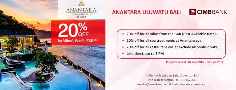 Diskon 20% di Anantara Uluwatu-Bali Resort dengan CIMB Niaga Kartu Kredit
