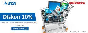 BCAMONDAY e-Promo Diskon 10% di Bhinneka dengan Kartu Kredit BCA