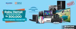 Tambahan diskon Rp 300.000 di Rabu Hemat Electronic City dengan Kartu Kredit BNI