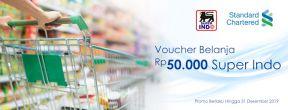 Gratis Voucher Belanja Rp50.000 Super Indo dengan Kartu Kredit Standard Chartered