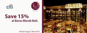 Save 15% at Beras Merah Bali dengan Kartu Kredit Citibank