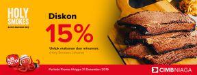Diskon 15% di Holy Smokes Jakarta dengan Kartu Kredit CIMB Niaga