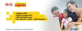 Cashback 20% + Diskon Hingga 60% di GIG Indosat Ooredoo dengan Kartu Kredit Mandiri