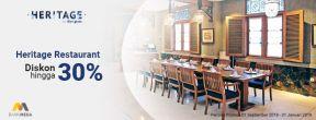 Diskon Hingga 30% di Heritage Restaurant dengan Kartu Kredit Mega