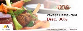 Diskon 30% di Voyage Restaurant dengan Kartu Kredit Mega