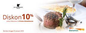 Diskon 10% untuk Makanan di Prime Steakhouse dengan Kartu Kredit Danamon