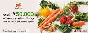 Diskon Rp 50.000 di Happy Fresh dengan Kartu Kredit CIMB Niaga