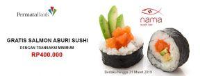 Gratis Salmon Aburi Sushi di Nama Sushi dengan Kartu Kredit Permata