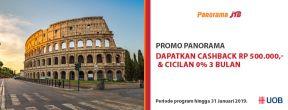 Cashback 500ribu & Cicilan 0% 3 Bulan di Panorama Tours dengang Kartu Kredit UOB