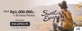 Promo hemat 1.000.000 + 30 Extra Photos Sweet Escape dengan Kartu Kredit Citi