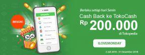 Cash Back ke TokoCash Rp200.000 di Tokopedia dengan Kartu Kredit HSBC