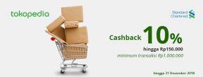Cashback 10% hingga Rp150.000 di Tokopedia dengan Kartu Kredit Standard Chartered