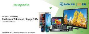 Tokopedia Anniversary Cashback Tokocash hingga 15% dengan Kartu Kredit BRI