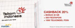 Cashback 20% + Bonus 30 GB + 500 Fiestapoin + 1000 Telkomsel Poin di Telkom Indonesia