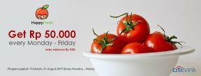 Diskon Rp 50.000 di Happy Fresh dengan Kartu Kredit Citibank