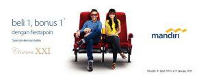 Beli 1 Gratis 1 Tiket Cinema XXI untuk Pemegang Kartu Kredit Mandiri