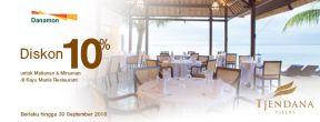 Diskon 10% untuk Makanan & Minuman di Kayu Manis Restaurant dengan Kartu Kredit Danamon
