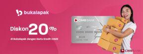 Diskon 20 % Bukalapak dengan Kartu Kredit CIMB