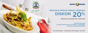 Makan & Minum hemat dengan diskon 20% di kafe Pisa Jakarta dengan Kartu Kredit MNC Bank