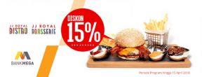 Diskon 15% di JJ Royal Bistro & Brasserie dengan Kartu Kredit Mega