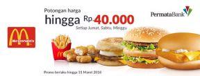 Diskon hingga Rp 40.000,- di McDonald's setiap Jumat, Sabtu, Minggu dengan Kartu Kredit Permata