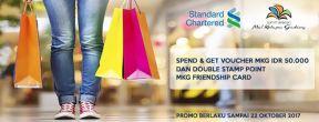 Dapatkan Voucher Rp. 50.000 & Double Stamp Point MKG Friendship Card di Mall Kelapa Gading Setiap Transaksi dengan Kartu Kredit Standard Chartered