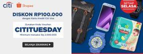 Shopee CITITUESDAY Diskon Rp 100.000 dengan Kartu Kredit Citi VISA
