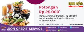 Potongan Rp 25.000 di Raa Chaa Suki & BBQ dengan Kartu Kredit AEON