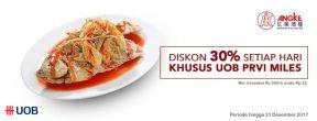 Diskon 30% setiap hari di Angke Restaurant, khusus UOB PRVI Miles