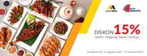 Diskon 15% di Bandar Djakarta dengan Kartu Kredit Mega