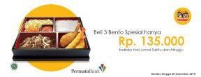 Harga Spesial 3 Bento 135K di Hokben dengan Kartu Kredit Permata