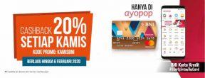 Cashback 20% Setiap Kamis di Ayopop dengan Kartu Kredit BNI