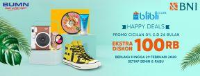 Ekstra Diskon Rp 100.000,- Setiap Senin & Rabu di Blibli.com dengan Kartu Kredit BNI