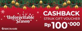 Cashback Struck Gift Voucher Rp 100.000,- di Matahari Department Store dengan Kartu Kredit BRI