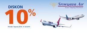 Diskon 10% Tiket Sriwijaya Air dan Nam Air dengan Kartu Kredit BRI