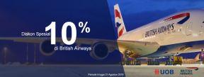 Diskon 10% British Airways dengan Kartu Kredit UOB