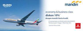 Diskon Hingga 10% Tiket Maskapai Emirates dengan Kartu Kredit Mandiri