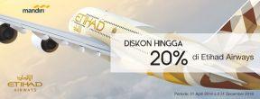 Diskon hingga 20% Etihad Airways dengan Kartu Kredit Mandiri