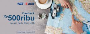 Cashback hingga 500ribu dengan Kartu Kredit UOB di HIS Travel