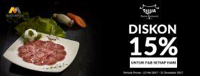 Diskon 15% di ILLUA Restaurant dengan Kartu Kredit Mega