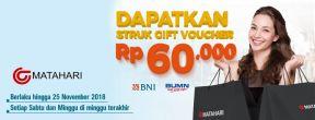 Dapatkan Struk Gift Voucher Rp 60.000 di Matahari Dept Store dengan Kartu Kredit BNI
