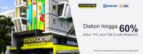 Diskon sd 60% untuk Kamar dan sd 15% OFF untuk F&B di Maxone Hotel