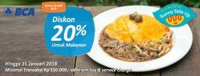 Diskon 20% Food Only di Sunny Side Up dengan Kartu Kredit BCA