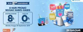 BNI 8th Anniversary Promo Diskon dan Cicilan 0% dengan Kartu Kredit BNI