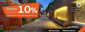 Diskon 10% pemesanan hotel melalui HotelIndonesiaGroup.co.id dengan Kartu Kredit BNI