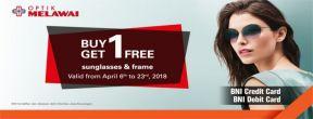 Buy 1 get 1 free sunglasses dan frame at Optik Melawai dengan Kartu Kredit BNI