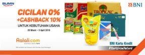 Cicilan 0% + Cashback 10% di Ralali.com dengan Kartu Kredit BNI