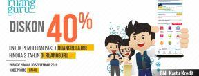 Diskon 40% di Ruangguru dengan Kartu Kredit BNI