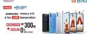 Promo Cashback Rp 300.000 untuk pembelian Samsung Galaxy A70 dengan Kartu Kredit BNI