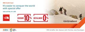 Diskon 10% + Cicilan 0% hingga 6 Bulan di Semua Outlet The North Face dengan Kartu Kredit BNI